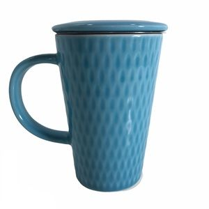 David's Tea Blue Patterned Mug Cup Lid Coffee